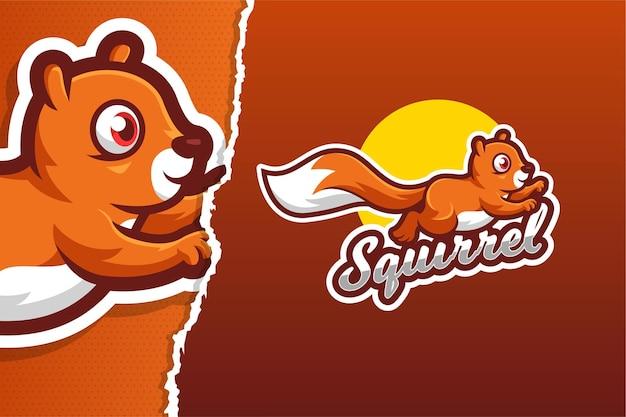 Modèle de logo de jeu de mascotte d'écureuil