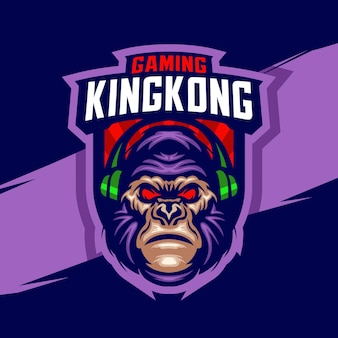 Modèle de logo de jeu de mascotte kingkong