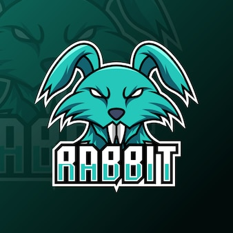 Modèle de logo de jeu de mascotte de lapin vert à longues dents
