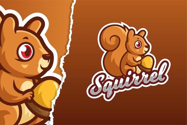 Modèle de logo de jeu de mascotte petit écureuil