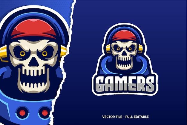 Modèle de logo de jeu skull e-sport