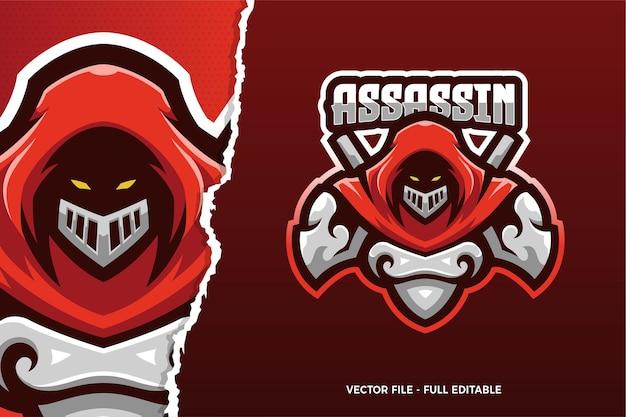 Modèle de logo de jeu de sport électronique assassin de manteau rouge