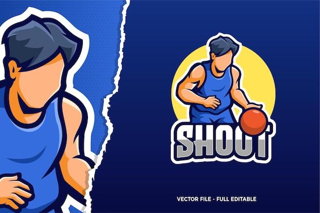 Modèle de logo de jeu de sport électronique de joueur de basket-ball