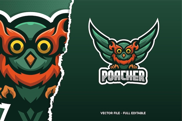 Modèle de logo de jeu de sport électronique owl poacher