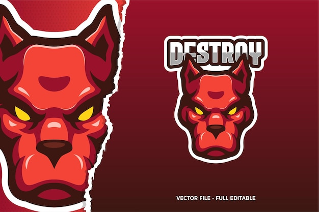 Modèle de logo de jeu de sport électronique pitbull rouge