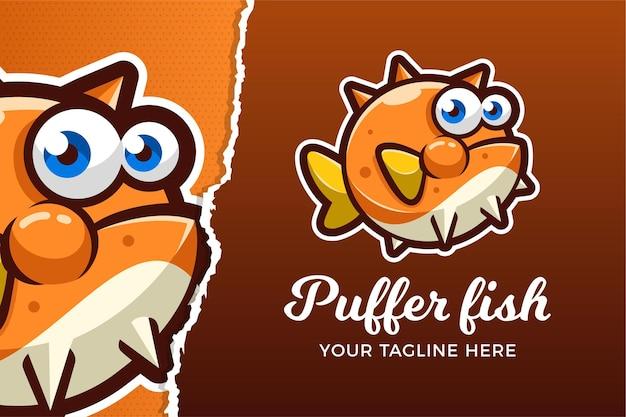 Modèle de logo de jeu de sport électronique puffer fish