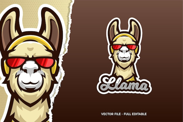 Modèle de logo de jeu de sports électroniques de lunettes de lama drôle