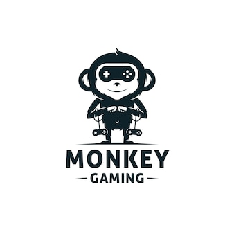 Modèle de logo de jeux de singe
