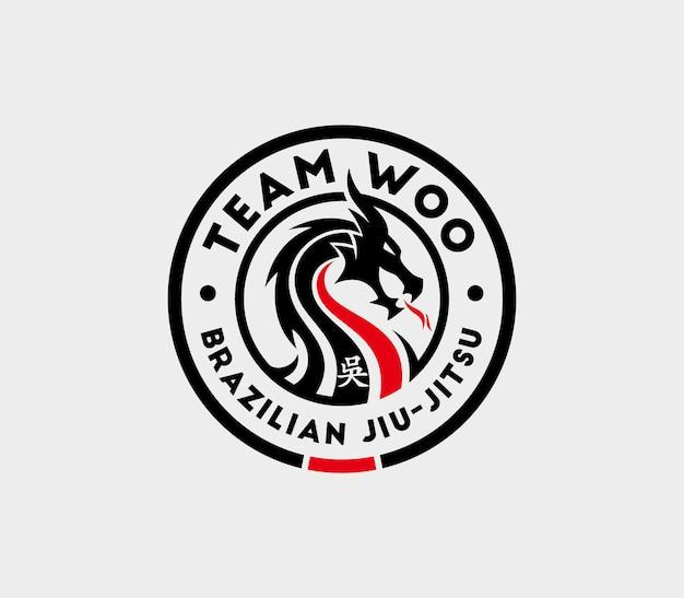 Modèle de logo jiu jitsu avec mascotte dragon