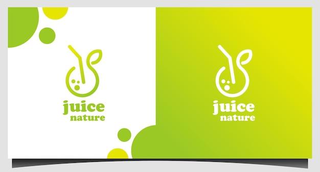 Modèle de logo de jus de fruits frais