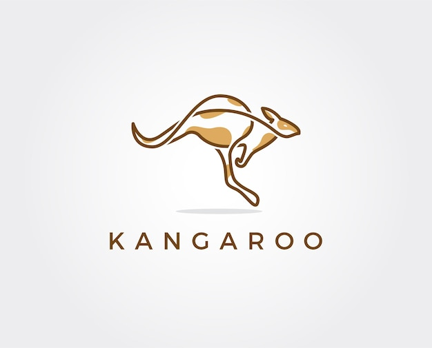 Modèle de logo kangourou minimal