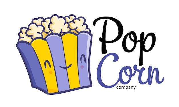 Modèle de logo kawaii drôle de dessin animé pour magasin ou entreprise de pop-corn