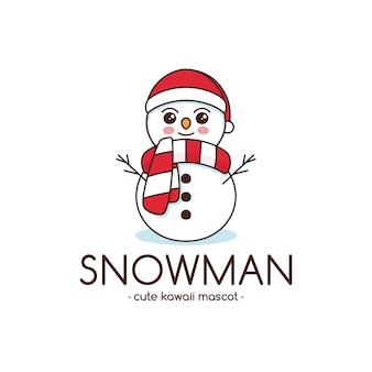 Modèle de logo kawaii mignon bonhomme de neige