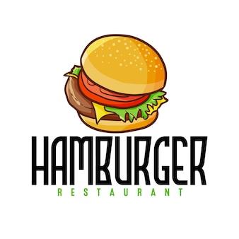 Modèle de logo kawaii mignon et drôle pour un restaurant, un magasin ou une entreprise de hamburgers