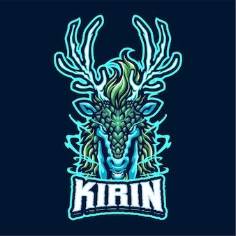 Modèle de logo kirin mascot