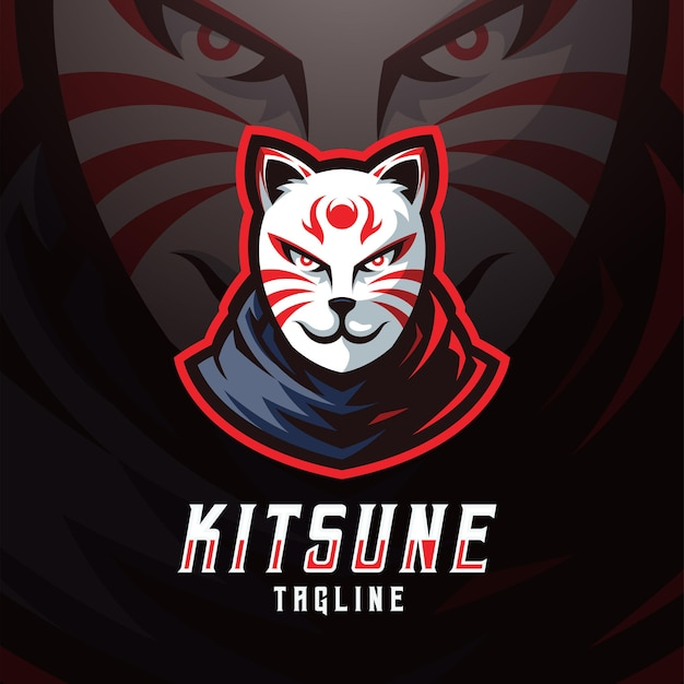 Modèle de logo kitsune masque e sport