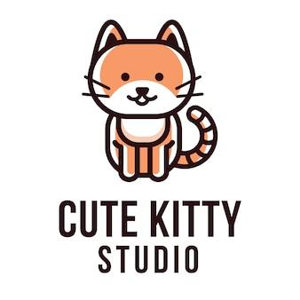 Modèle de logo kitty studio mignon
