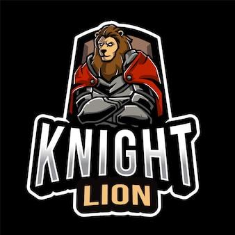 Modèle de logo knight lion esport