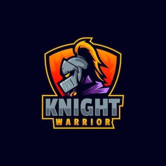 Modèle de logo de knight warrior esport et sport style