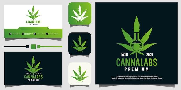 Modèle de logo de laboratoire de cannabis