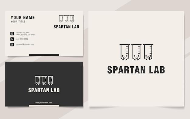Modèle de logo de laboratoire spartiate sur le style monogramme