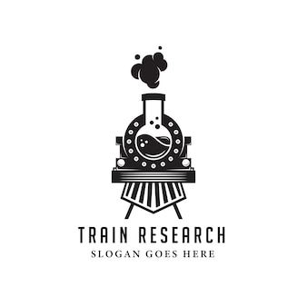 Modèle de logo de laboratoire de train ancien noir. style rétro et vintage