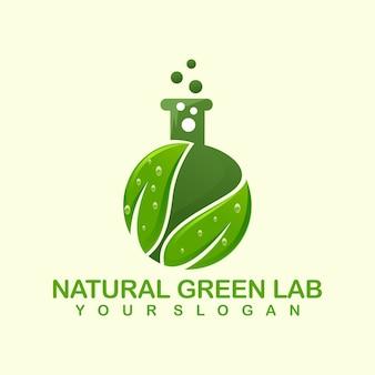 Modèle de logo de laboratoire vert naturel