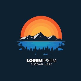 Modèle de logo de lac