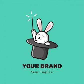 Modèle de logo de lapin magique