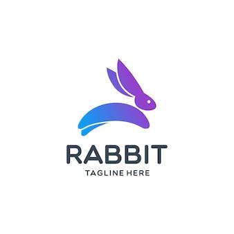 Modèle de logo de lapin sautant