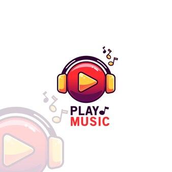 Modèle de logo de lecture de musique