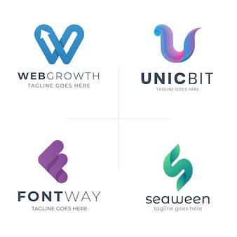 Modèle de logo lettre abstraite moderne