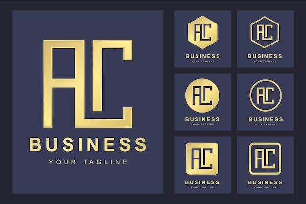 Modèle de logo lettre ac avec plusieurs versions