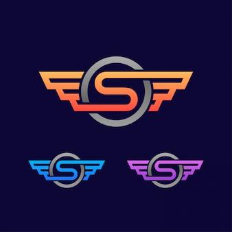 Modèle de logo lettre avec aile