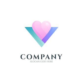 Modèle de logo de lettre d'amour v