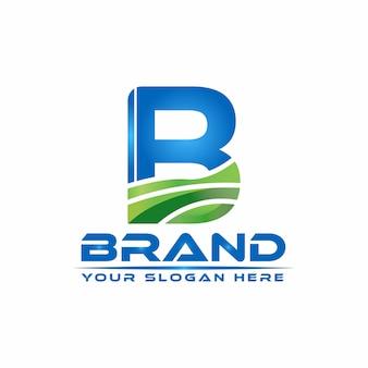 Modèle de logo lettre b nature