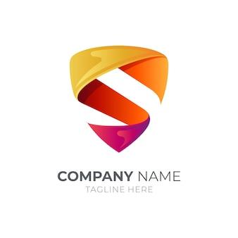 Modèle de logo de lettre de bouclier isolé sur blanc