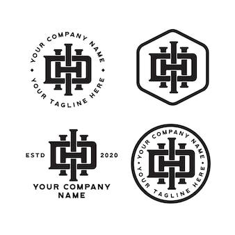 Modèle de logo lettre dhi monogramme
