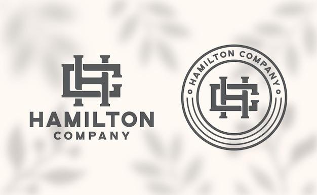 Modèle de logo lettre hc monogramme