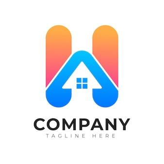 Modèle de logo de lettre initiale h de style de logo de style dégradé moderne avec concept de maison et de maison
