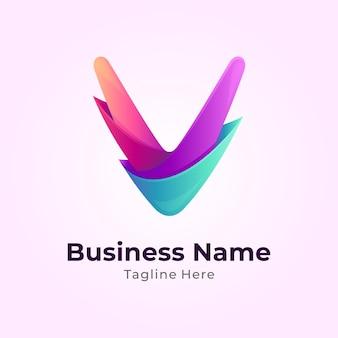 Modèle De Logo Lettre Initiale V Coloré Vecteur Premium