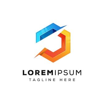 Modèle de logo lettre j hexa