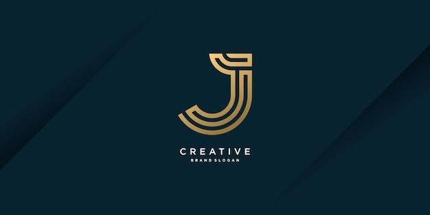Modèle de logo de lettre j d'or avec concept créatif et partie 3 de style unique moderne