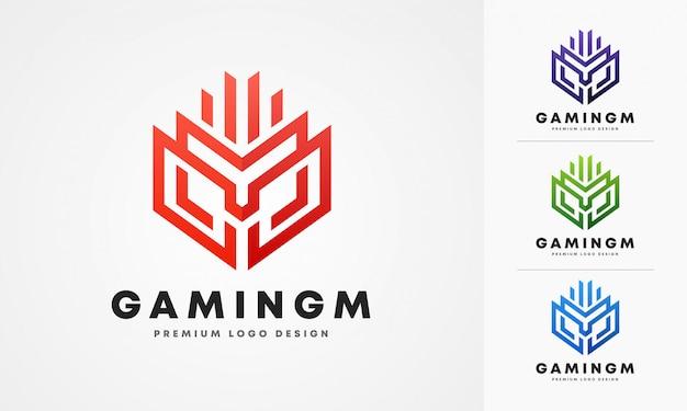 Modèle de logo de lettre m de jeu