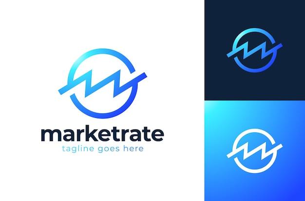 Modèle de logo lettre m ou w d'organisation bancaire ou financière