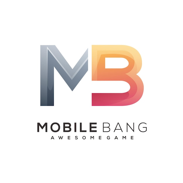 Modèle de logo de lettre mb