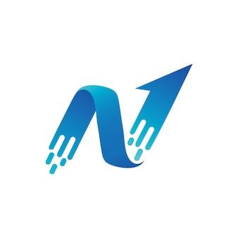 Modèle de logo de lettre n flèche