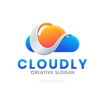 Modèle de logo lettre c nuage moderne