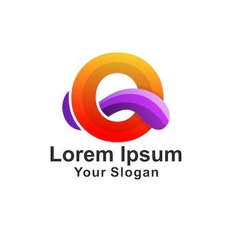 Modèle de logo avec lettre o, style moderne coloré