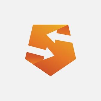 Modèle de logo lettre s flèche et bouclier